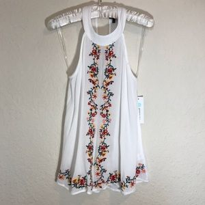Staccato White Embroidered Halter NWT